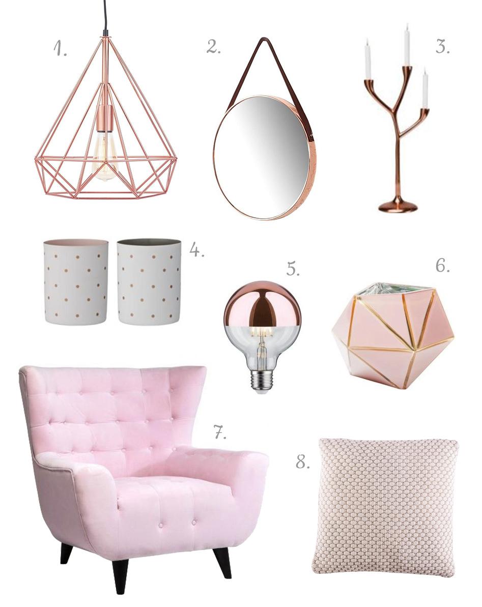 Szara sypialnia - różowe dodatki