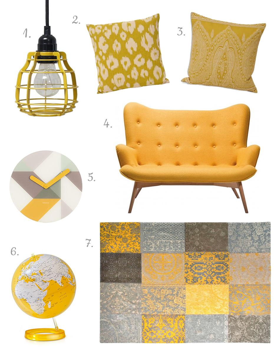Szare sypialnia - żółte dodatki