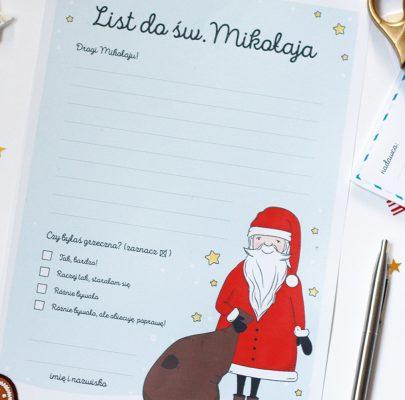 List do św. Mikołaja do wydrukowania