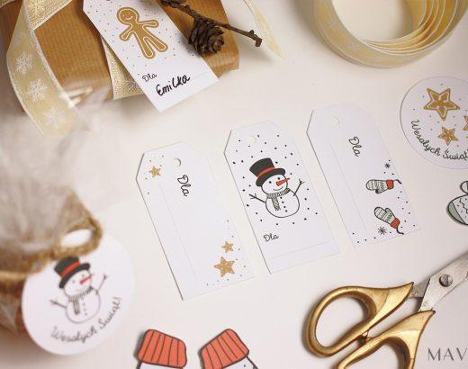 Świąteczne etykiety na prezenty do wydrukowania