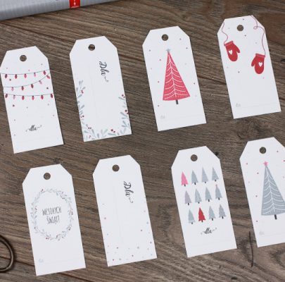 Etykiety świąteczne do druku (dwie opcje kolorystyczne)
