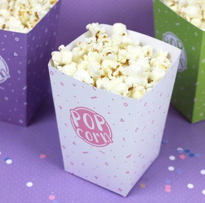 Pudełko na popcorn do druku / 12 kolorów / Projekt Party!