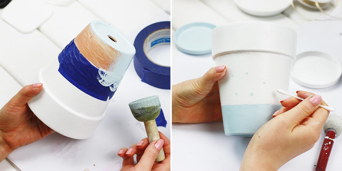 DIY: malowanie doniczek, doniczki w kropki