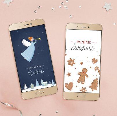 Świąteczne tapety na telefon – pierniczki i aniołek (z napisami + bez napisów)