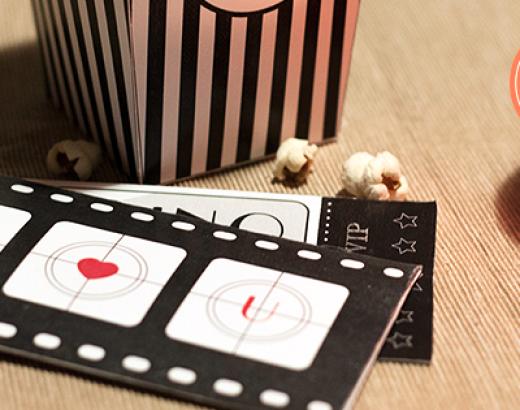 Bilet na film i pudełko na popcorn: walentynkowe DIY