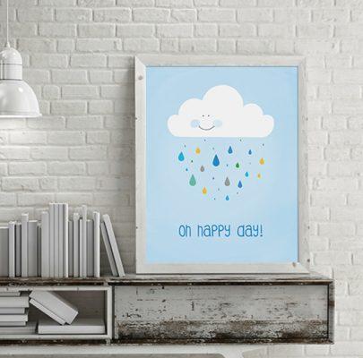 Plakat z chmurką do wydrukowania