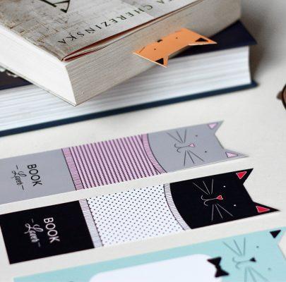 Kocie zakładki do książek do wydrukowania