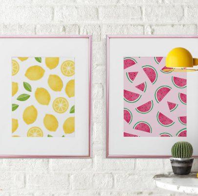 Owocowe plakaty do wydrukowania – arbuzy, cytryny i truskawki
