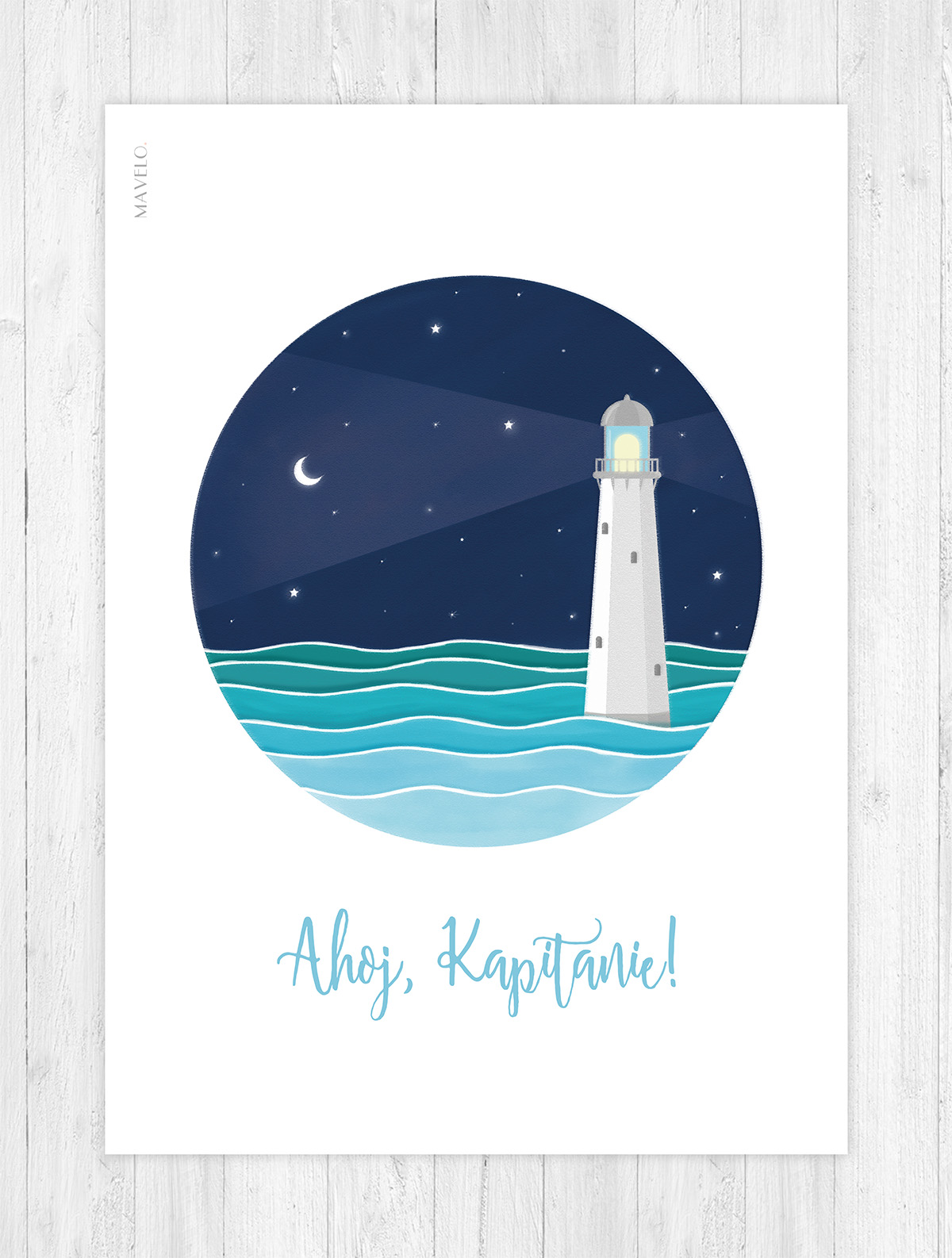 plakat z latarnią morską