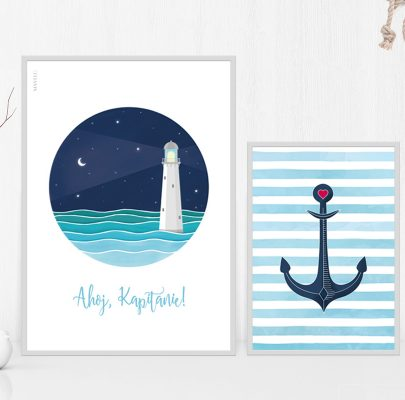 Plakaty w stylu marynarskim do wydruku