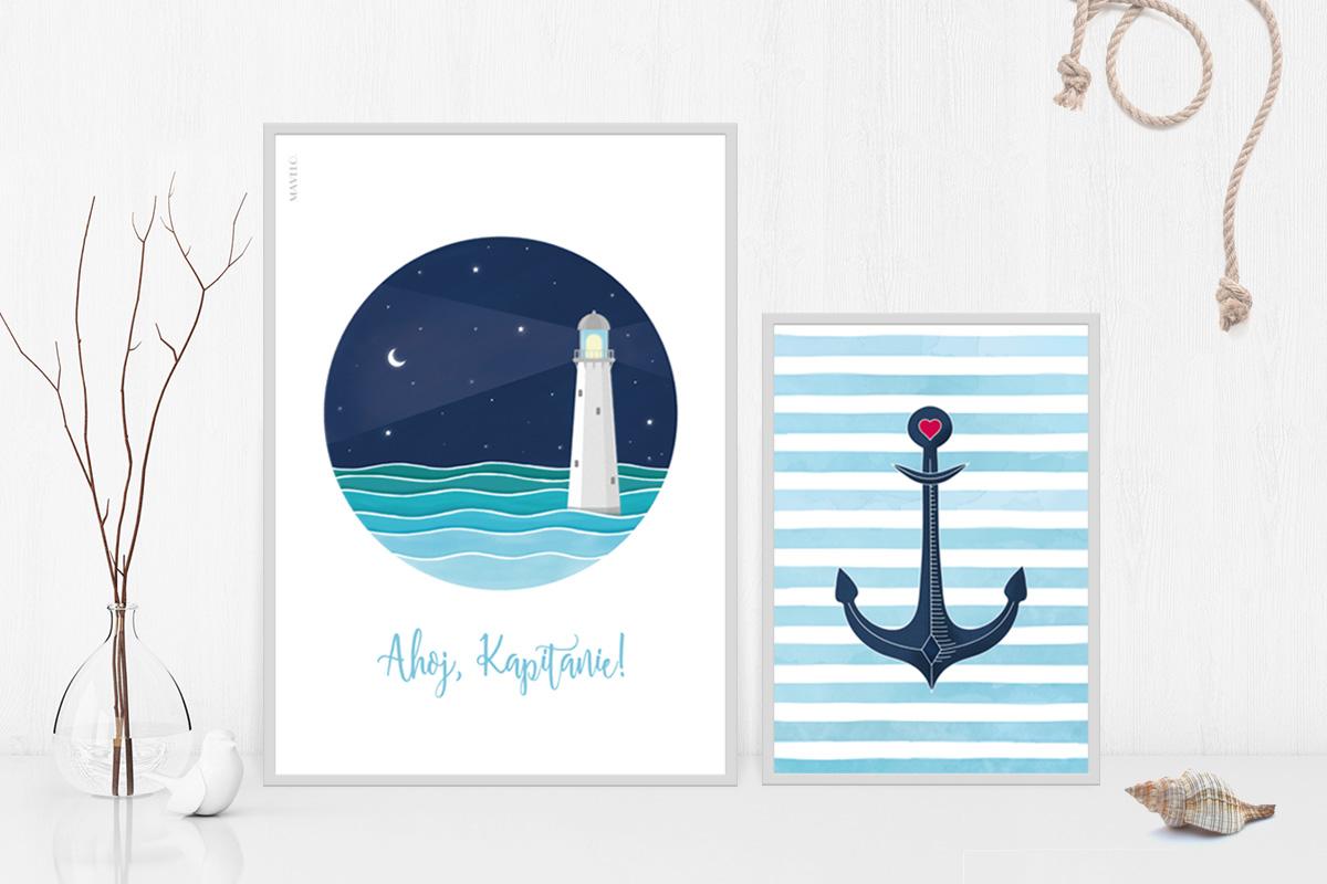 plakaty w stylu marynarskim