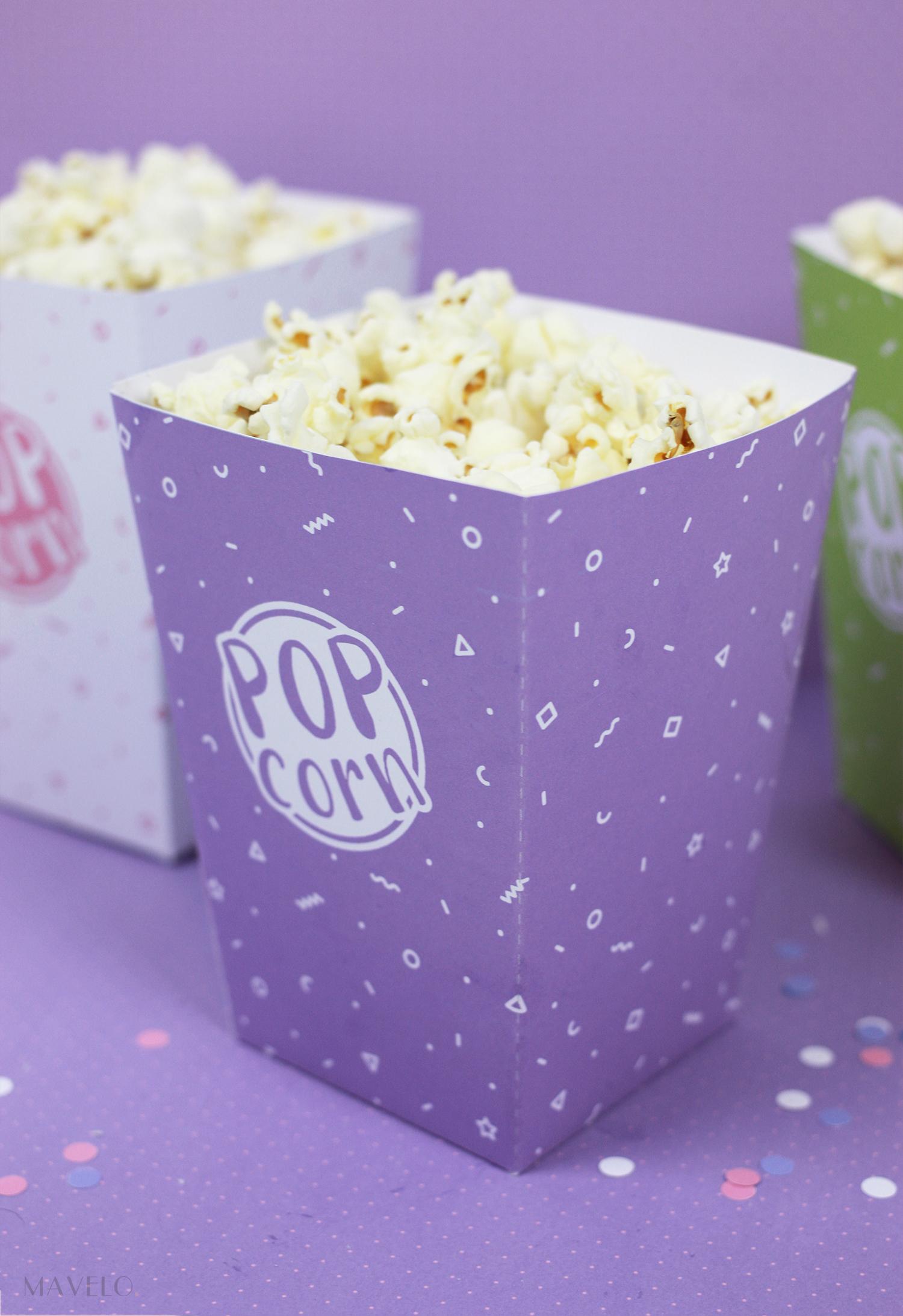 Pudełko na popcorn do druku / 12 kolorów / freebies