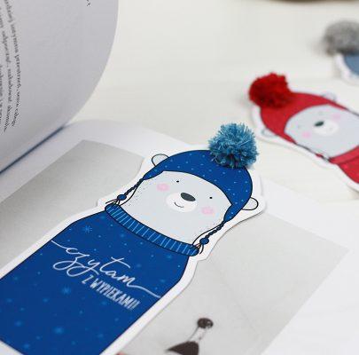Zimowe zakładki do książek do druku – misie z pomponami!