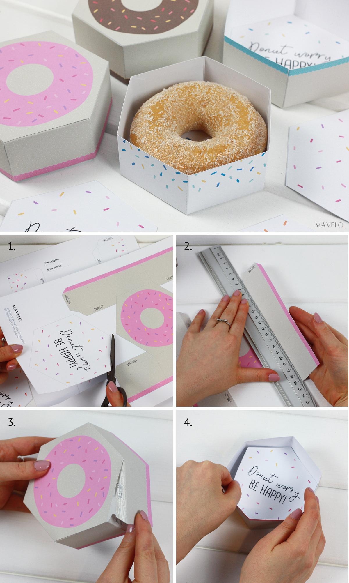 pudełko donut do druku / freebies / donut worry be happy