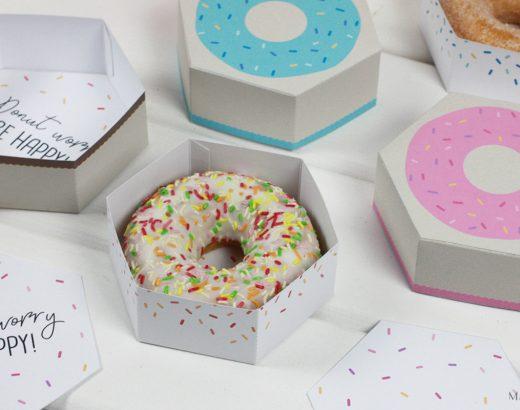 Pudełko do druku – donut w 3 kolorach :)