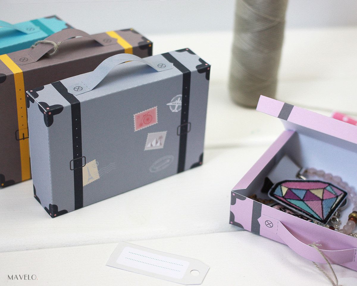 DIY: Pudełko-walizka z papieru - do druku w 4 kolorach