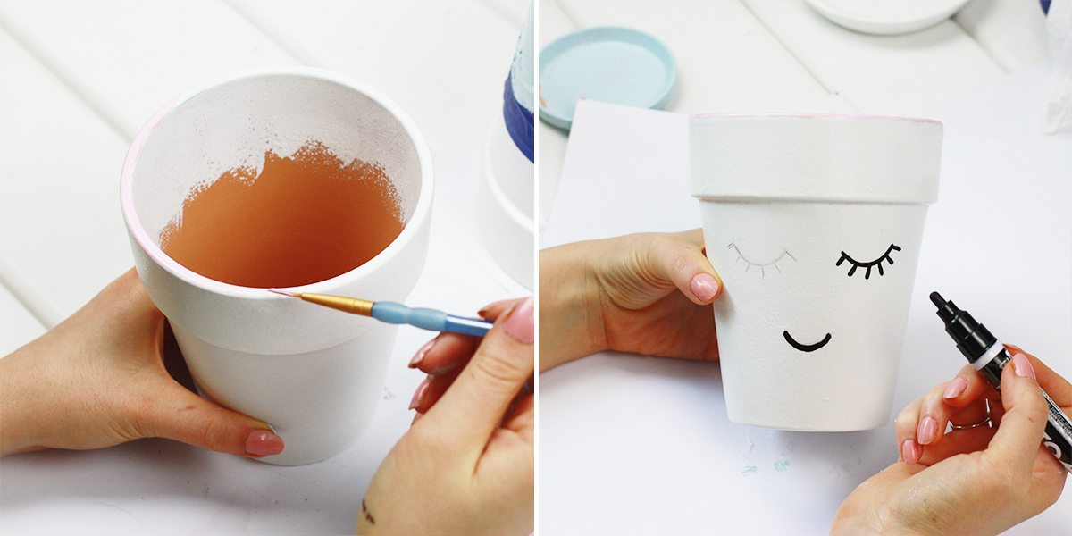 DIY: Doniczka z buźką, malowanie doniczek