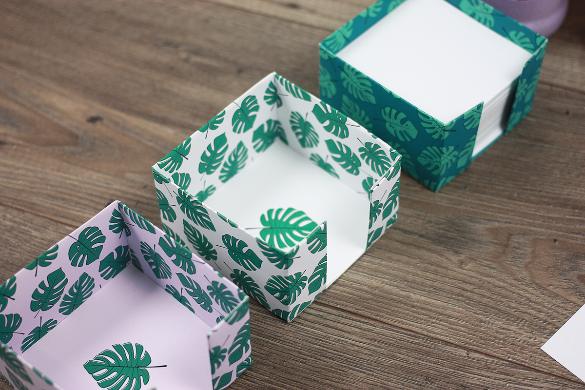 szablon do druku: pudełko na karteczki / kubik
