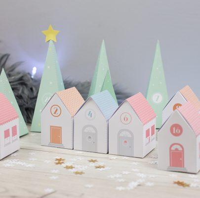 DIY: Kalendarz adwentowy do druku – zimowe miasteczko