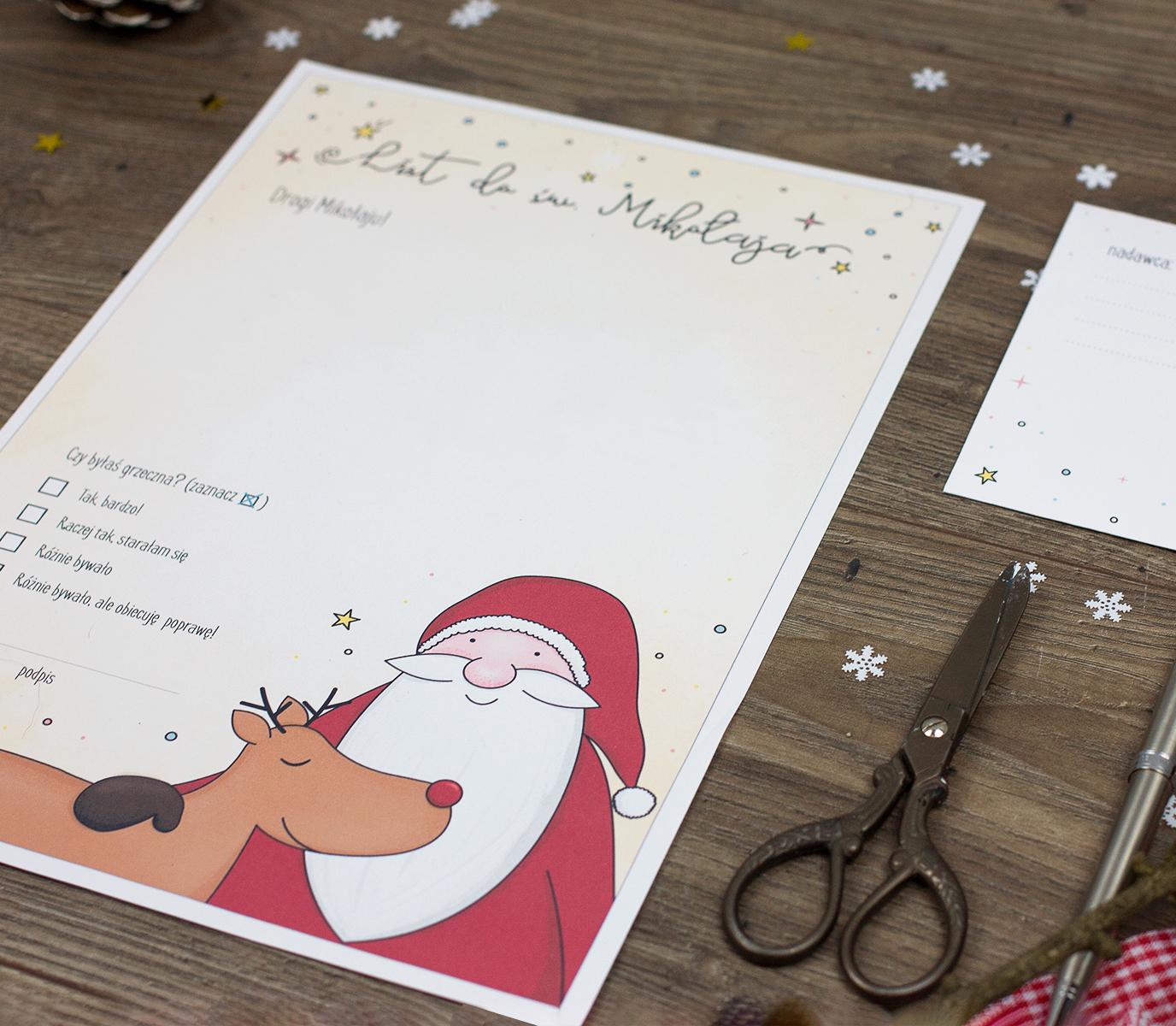 list do Mikołaja - szablon do druku