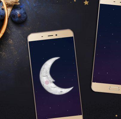 Księżycowe tapety na telefon – Mr. Moon i gwiezdne niebo