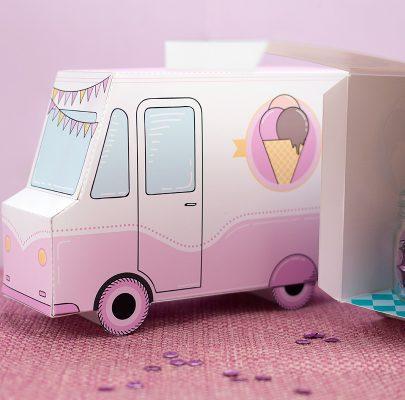 Furgonetki z lodami – pastelowe pudełka do druku