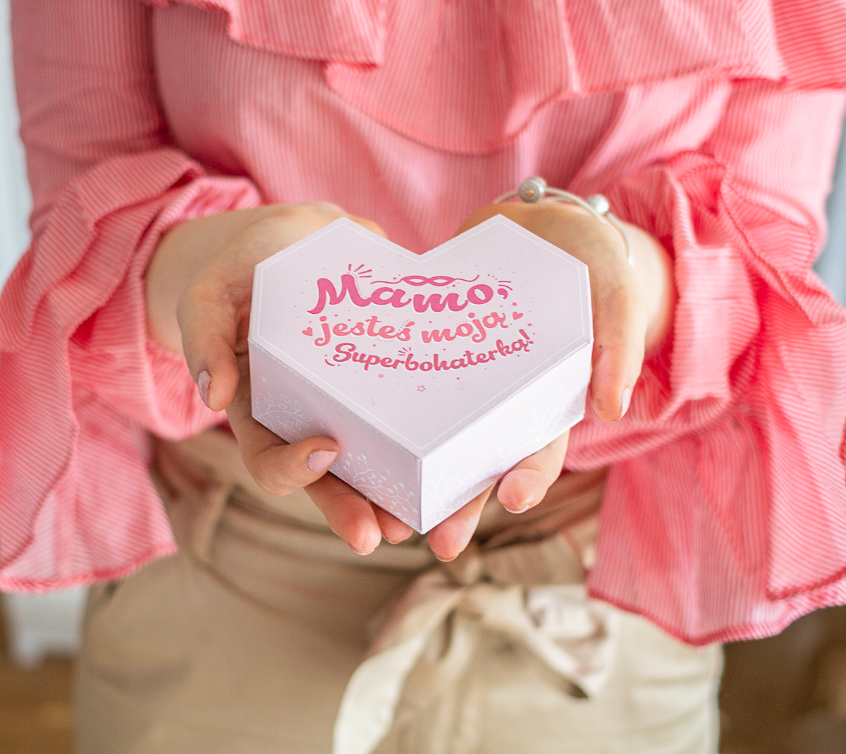 Serce dla Mamy - pudełko na prezent do wydrukowania