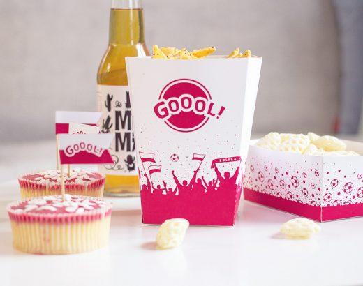 Gadżety kibica do wydrukowania – pudełka na popcorn i przekąski