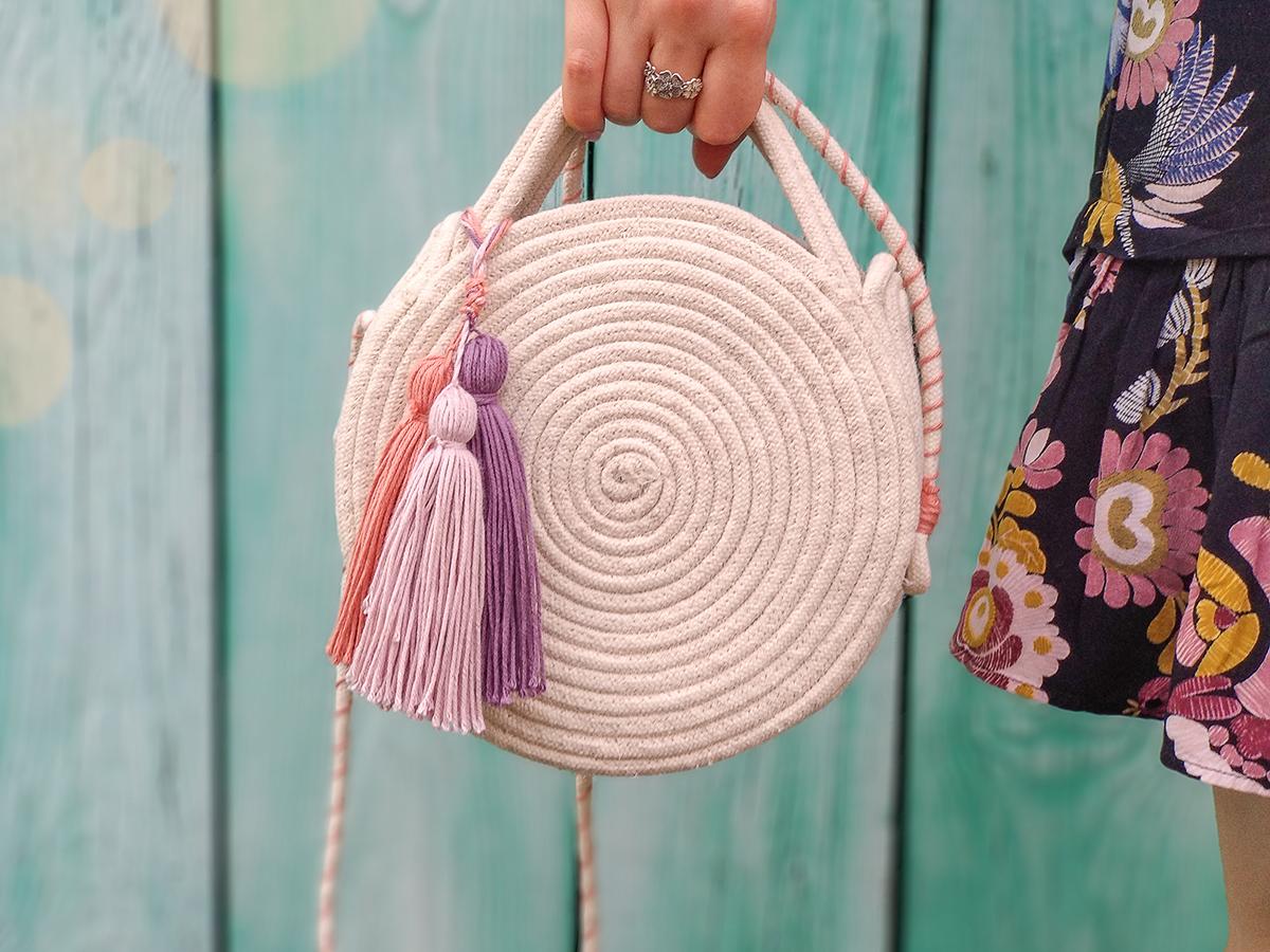 okrągła torebka ze sznurka DIY