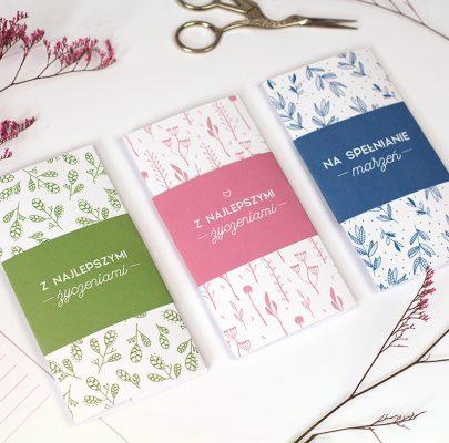 Etui / koperta na pieniądze – motywy botaniczne w trzech kolorach do wydrukowania