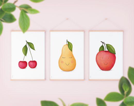 Owocowe plakaty do druku – wisienki, gruszka, jabłko (wersje z buźkami i bez)