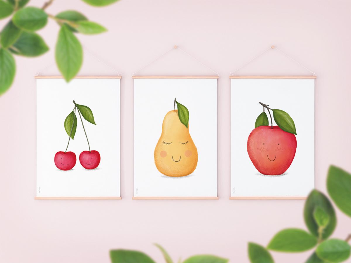 Owocowe Plakaty Do Druku Wisienki Gruszka Jabłko Wersje