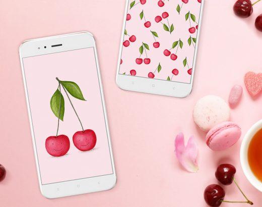 Owocowe tapety na telefon / wisienki, gruszki i jabłka