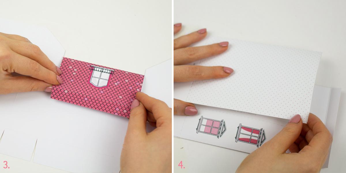 pudełka na ciasteczka - kolorowe kamieniczki do druku