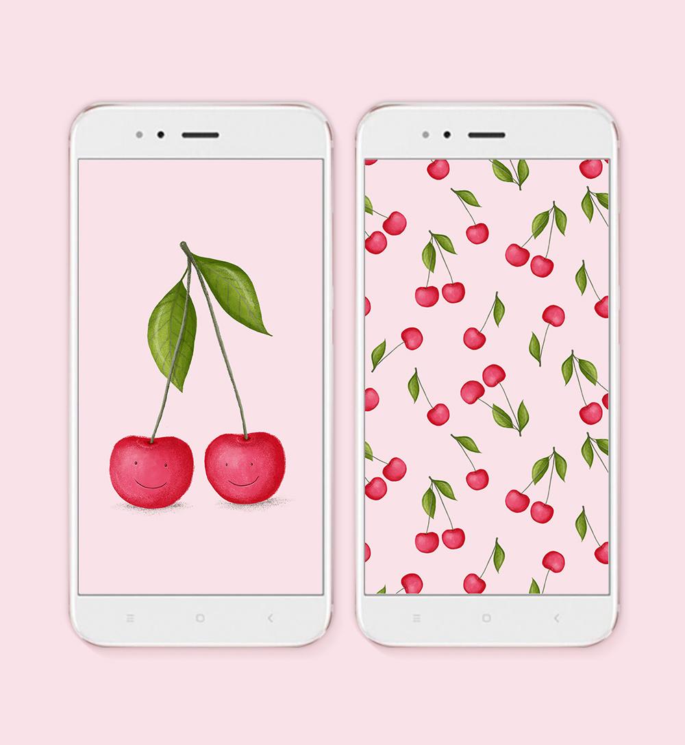 Owocowe tapety na telefon / wisienki, gruszki i jabłka ...
