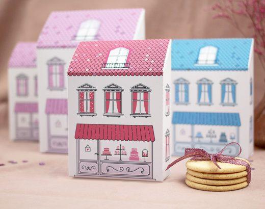 Kolorowe kamieniczki – pudełka na ciasteczka (i nie tylko!) / do wydrukowania w 3 kolorach i 2 rozmiarach (+ opcja do pokolorowania)