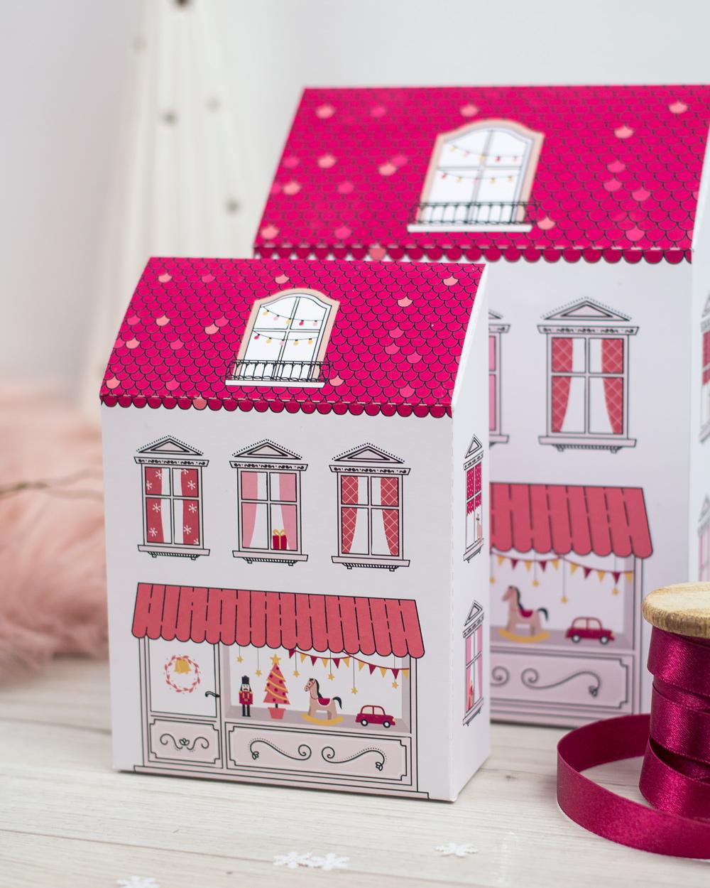 Domki z papieru do wydruku - świąteczne kamieniczki