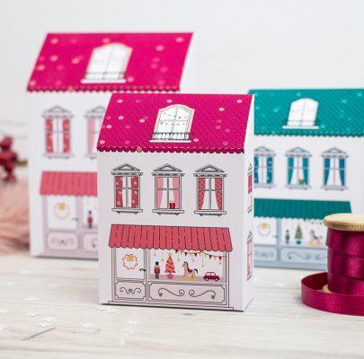 Świąteczne kamieniczki – pudełka-domki do wydrukowania