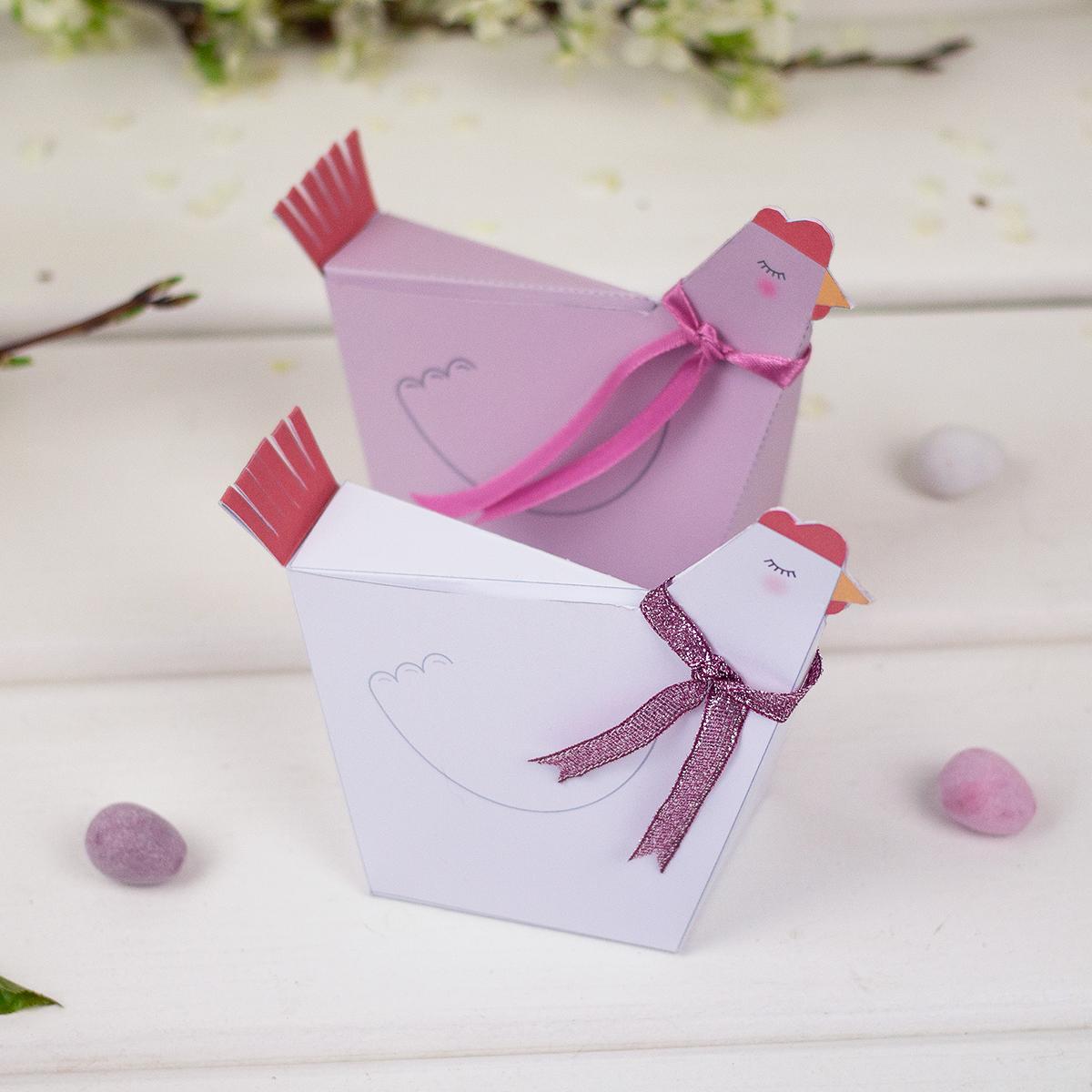 Pudełka kurki - wielkanocne dekoracje z papieru